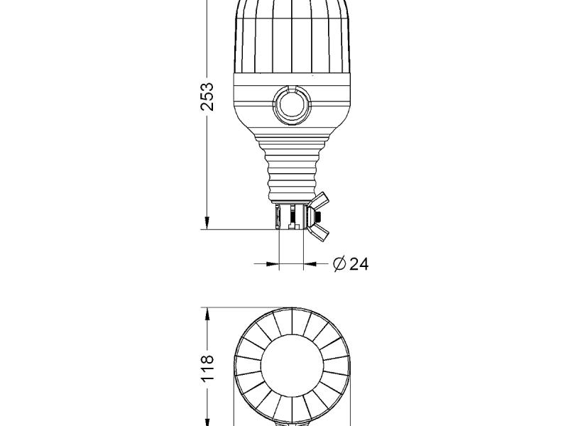 Zwaailamp Microrot 12V flexibel